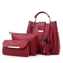 Load image into Gallery viewer, 2019 New Style Foreign Trade WOMEN'S Bag Korean-style-Style Different Size Bags Bucket Handbag Tassled 3pcs Set Bag Wholesale