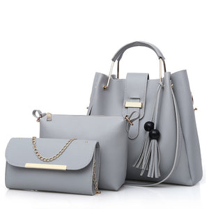 2019 New Style Foreign Trade WOMEN'S Bag Korean-style-Style Different Size Bags Bucket Handbag Tassled 3pcs Set Bag Wholesale