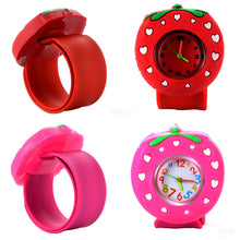 Load image into Gallery viewer, Children's Slap Watch 3D Cartoon Strawberry Quartz Wristwatch Fashion Lovely Silicone Band Kids Watch Cute Baby Clock Relogio