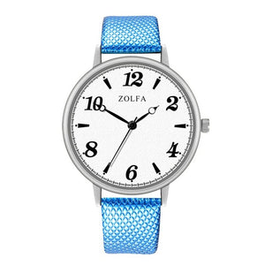 Hot Sell Quartz Watch Woman's High-end Blue Glass Life Waterproof Distinguished Women Couple Fashion Simple Casual Wristwatch #D