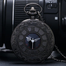 Load image into Gallery viewer, Black Pocketwatch Vintage CharmUnisex Fashion Roman Number Quartz Steampunk Pocket Watch Women Man Necklace Pendant with Chain