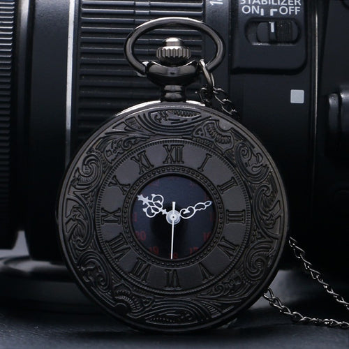 Black Pocketwatch Vintage CharmUnisex Fashion Roman Number Quartz Steampunk Pocket Watch Women Man Necklace Pendant with Chain