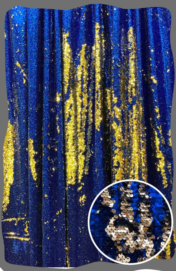 Blue & Gold Sequin Mermaid Backdrop