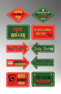 Casino Photo booth Prop Sign Bundle (10 sets)