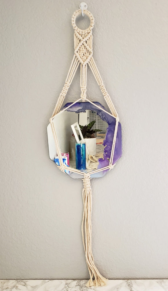 Lovely Lilac Macrame Hanging Mirror