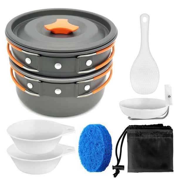 8 pc Portable Camping Cookware Set - Halex Outdoor Gear / Survival / Tactical