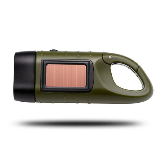 Solar Powered Hand Crank LED Flashlight - Halex Outdoor Gear / Survival / Tactical