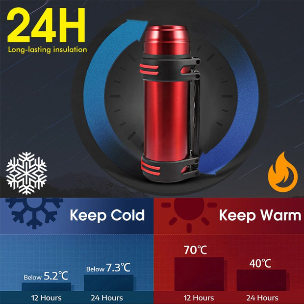 1.2L - 2.5L Vacuum Insulated Stainless Steel Thermos - Halex Outdoor Gear / Survival / Tactical