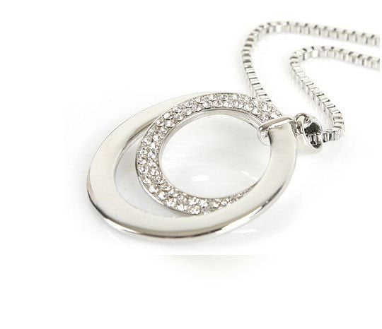 New Women/'s  Crystal Rhinestone Silver Plated Long Chain Pendant Necklace