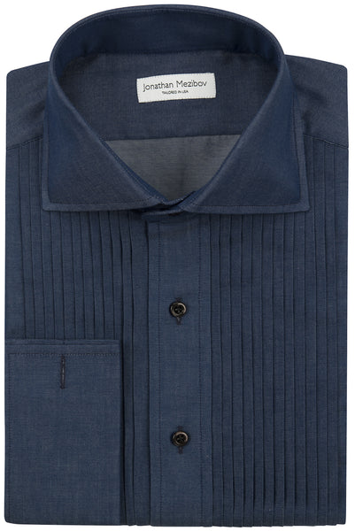 Slim-Fit Denim Tuxedo Shirt