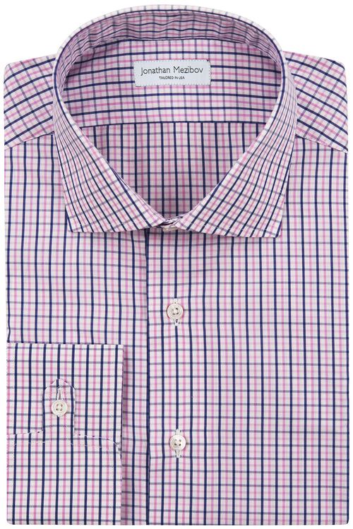 Classic-Fit Winthrop Navy/Pink Checked Dress Shirt