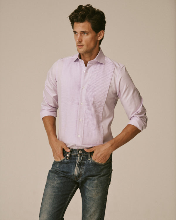 Male model wearing the Royal Oxford Tuxedo Shirt and jeans.