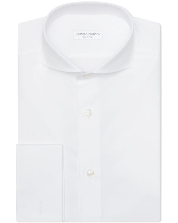 Jonathan Mezibov Italian-made white Pearson Poplin French Cuff Shirt with a cutaway collar.