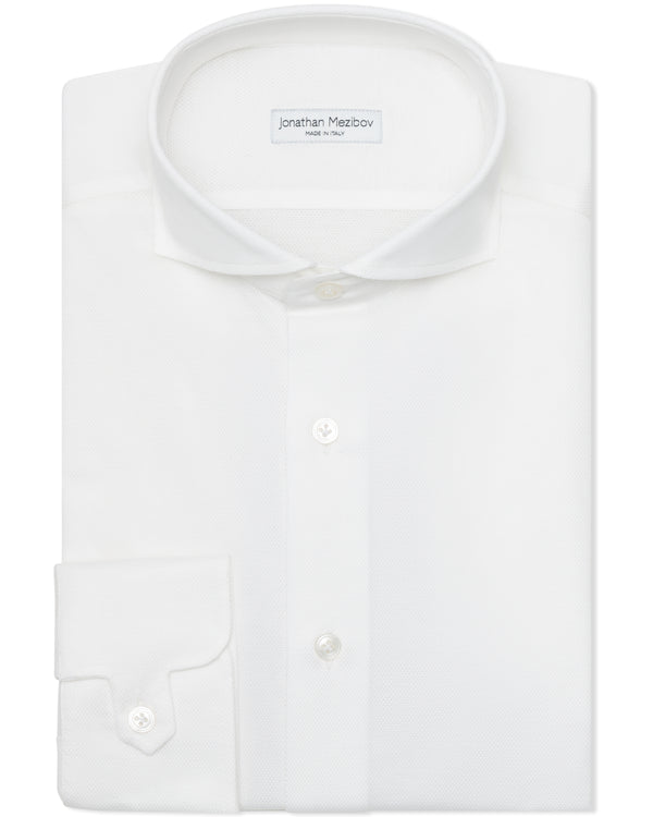 Jonathan Mezibov Italian-made white Pearson Piqué Shirt with a cutaway collar and signature tab cuffs.