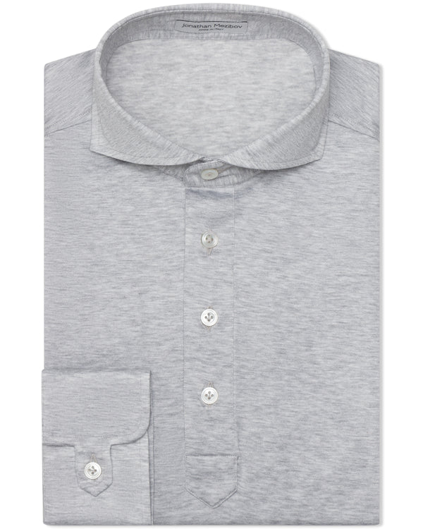Jonathan Mezibov Italian-made light grey Pearson Jersey Polo Shirt with a cutaway collar and signature tab cuffs.