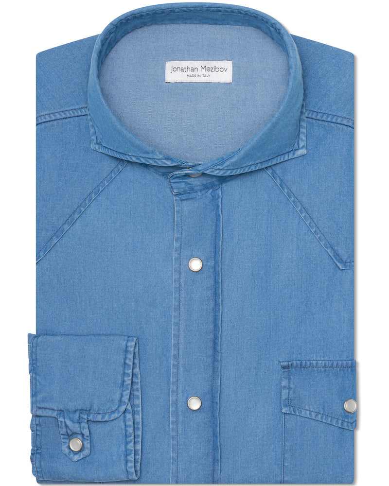 Jonathan Mezibov blue Stone Washed Denim Western Shirt with a cutaway collar and signature tab cuffs.
