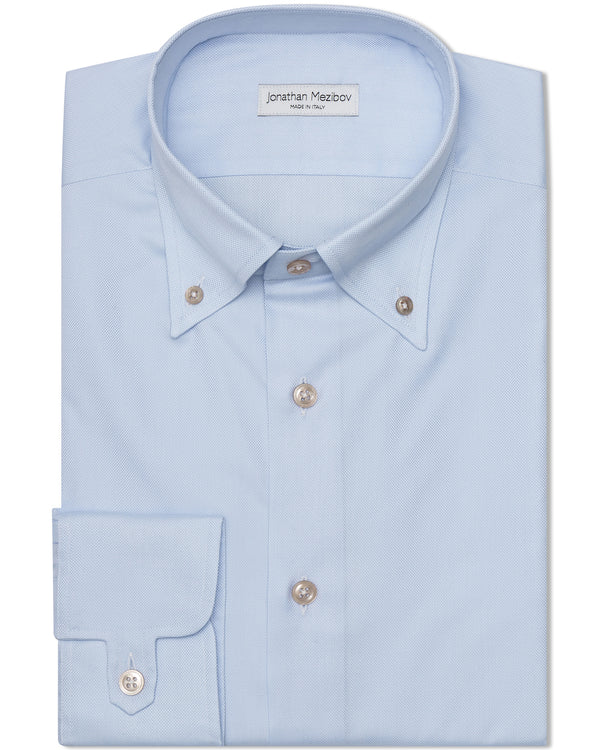 Jonathan Mezibov light blue Gordon Royal Oxford Shirt with a button-down collar, Australian mother-of-pearl buttons, and signature tab cuffs.