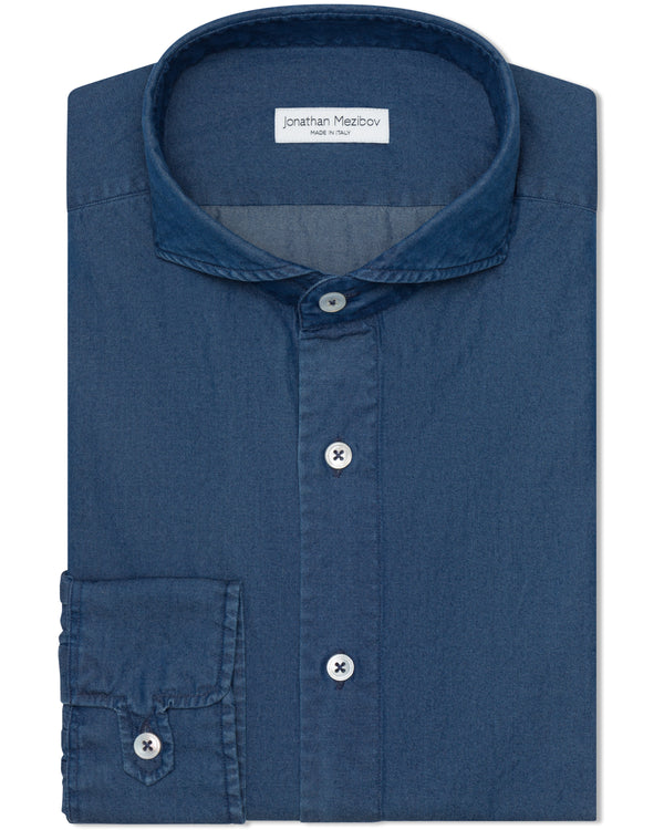 Jonathan Mezibov dark wash Pearson Denim Shirt with a cutaway collar and signature tab cuffs.