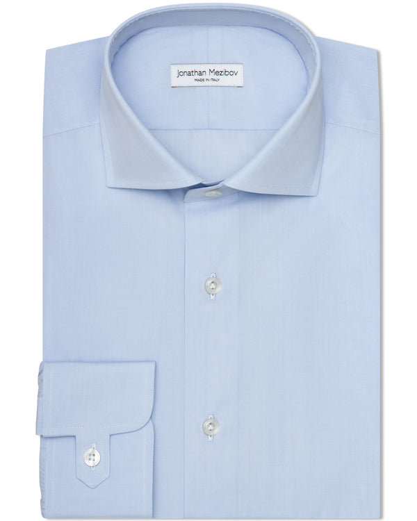 Jonathan Mezibov sky blue Carmichael Fine Poplin Shirt with a spread collar and signature tab cuffs.