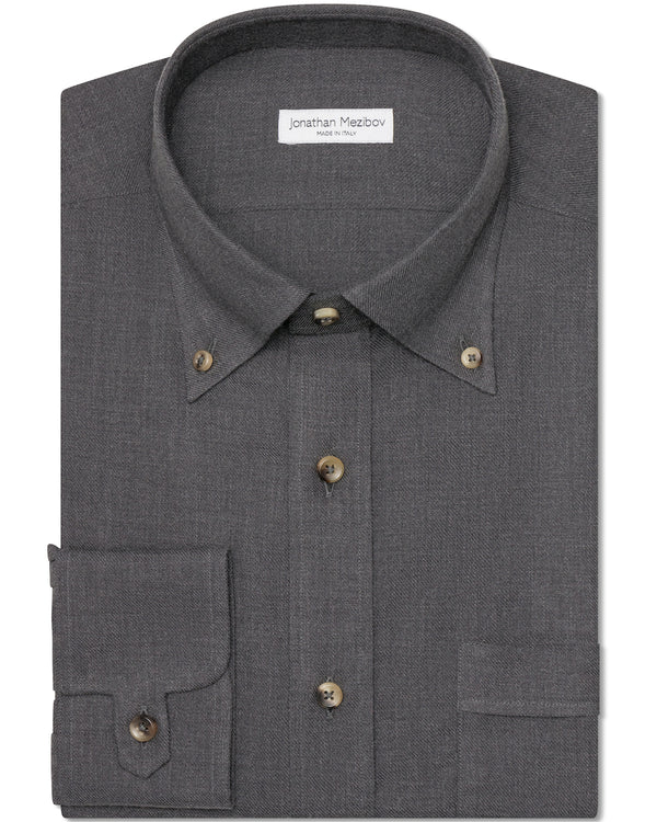 Jonathan Mezibov dark grey Gordon Cotton-Cashmere Shirt with a button-down collar, horn buttons, and signature tab cuffs.