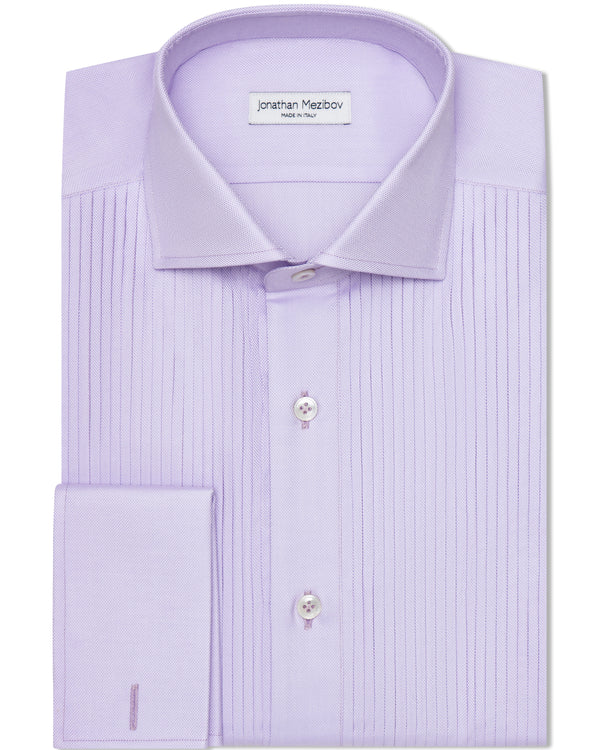 Jonathan Mezibov lavender Royal Oxford Tuxedo Shirt with a spread collar and French cuffs.