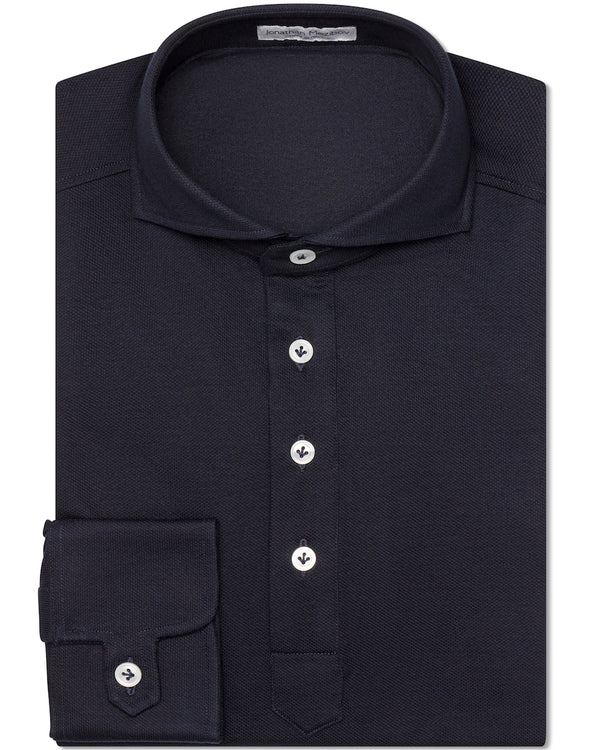 Jonathan Mezibov navy Piqué Polo Shirt with a cutaway collar and signature tab cuffs.