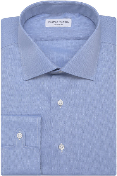 Classic-Fit Stratton Blue Herringbone Dress Shirt