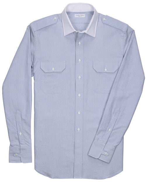Tailored-Fit Oxford Military Sport Shirt