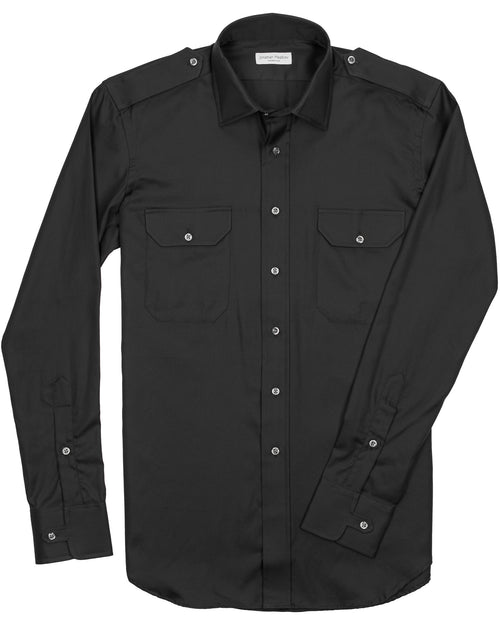 Slim-Fit Twill Military Sport Shirt