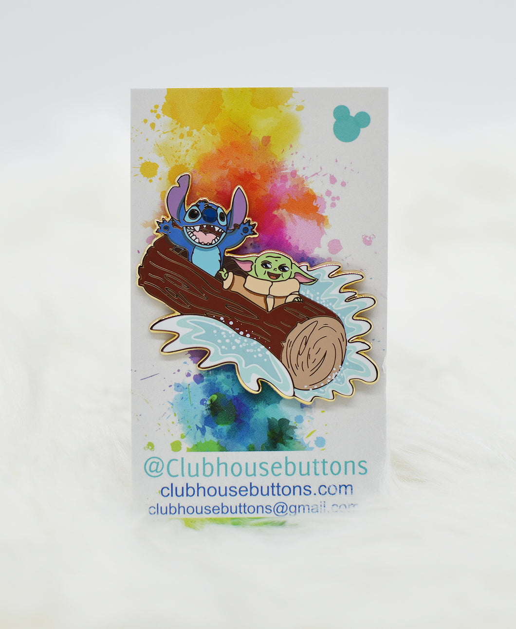 Stitch and Baby Splash Mountain Pin