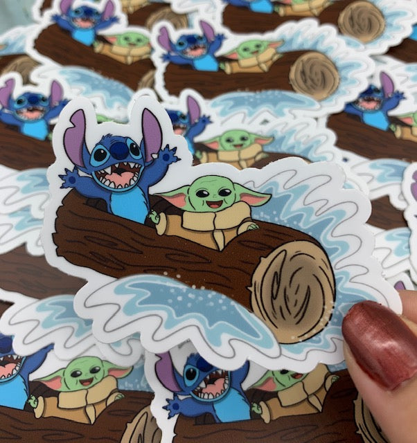 Stitch and Baby Splash Mountain Sticker or Magnet
