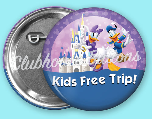 Kids Free Trip Donald and Daisy Button