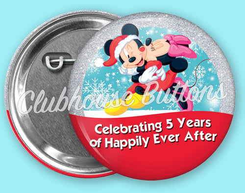 Mickey and Minnie Christmas Anniversary Button
