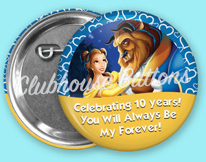 Belle and Beast Anniversary Button