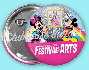 Mickey and Minnie Art Festival Button