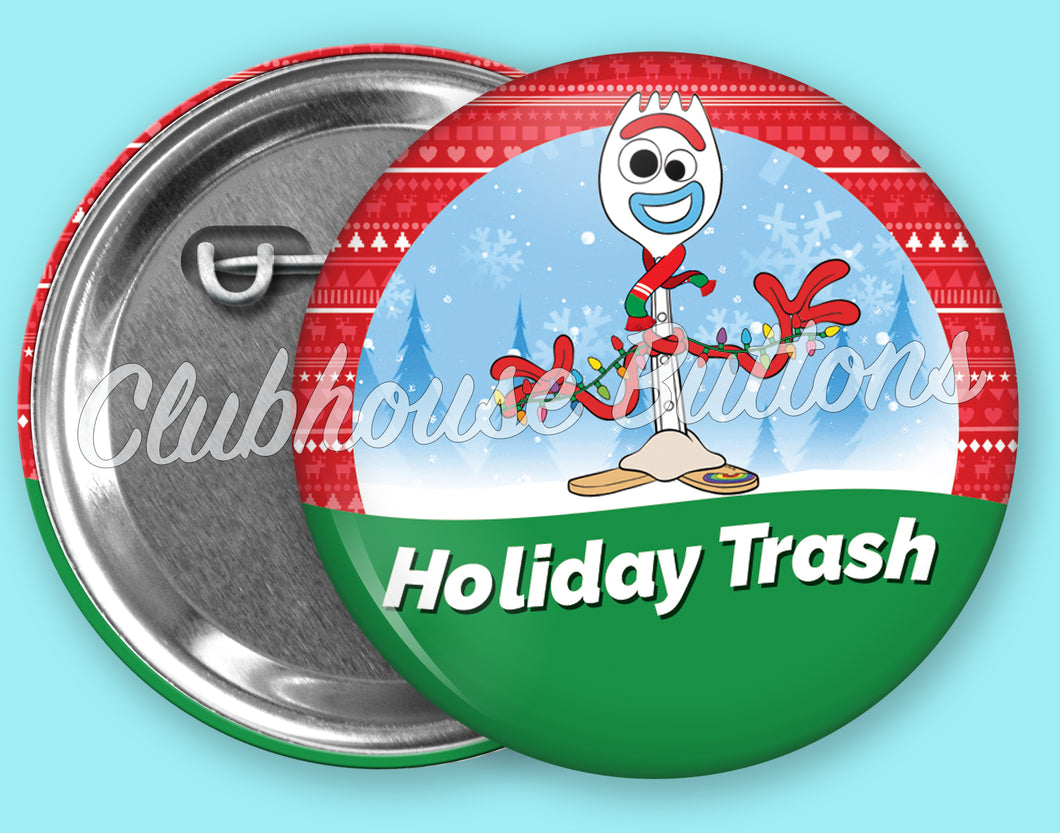 Forky Holiday Trash Button