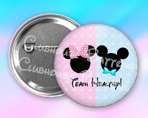 Mickey and Minnie Team Healthy- Baby News Button