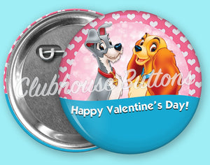 Lady and the Tramp Valentine's Day Button