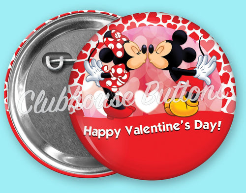 Mickey and Minnie Valentine's Day Button