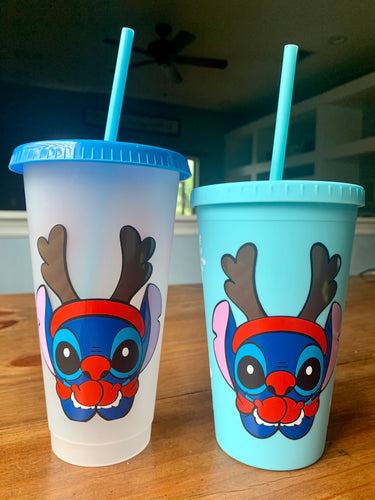 Stitch Rudolph Reusable Cold Cups
