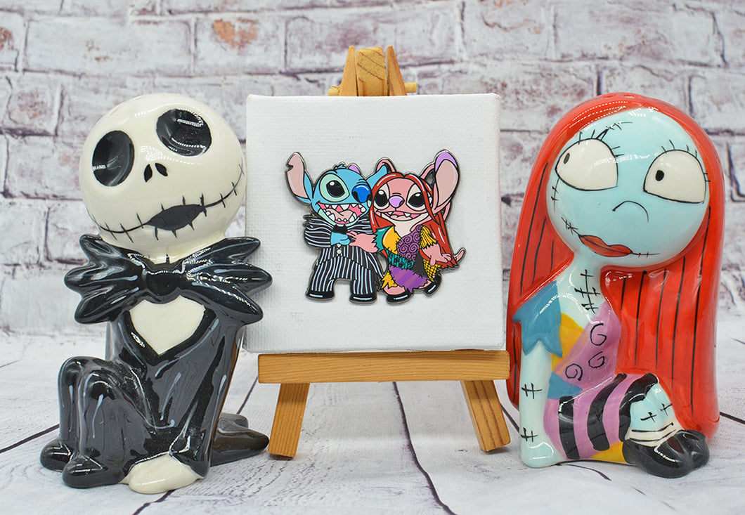 Stitch and Angel Jack and Sally B-Grade Pin