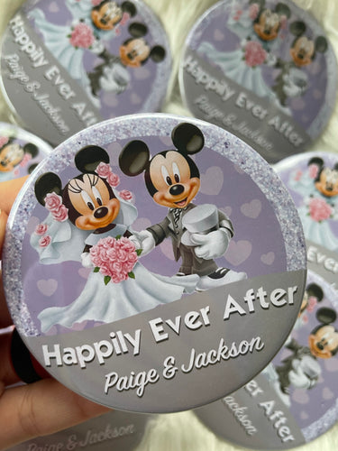 Mickey and Minnie Wedding Buttons