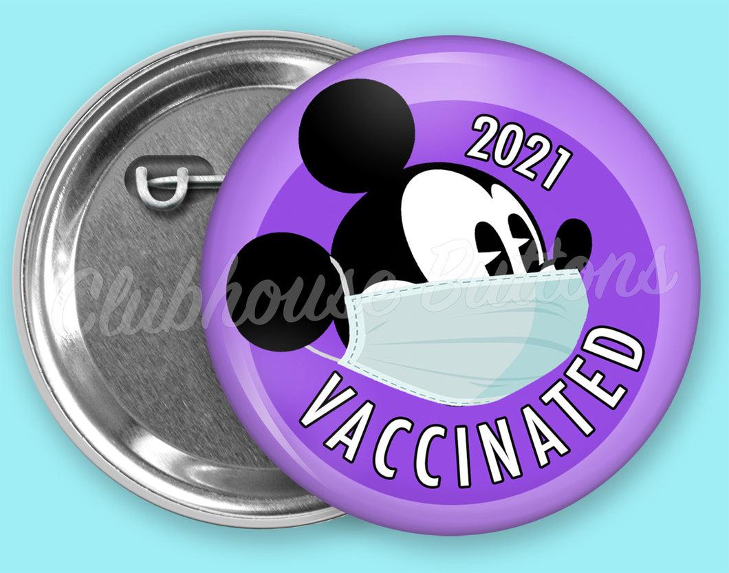 Mickey Head Vaccinated Button