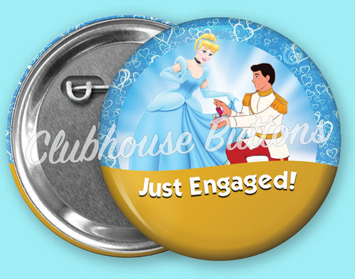 Cinderella & Prince Charming Just Engaged Button