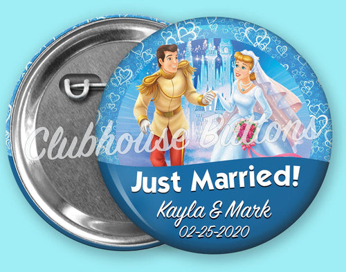 Cinderella & Prince Charming Just Married Button