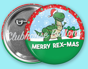 Merry Rex-Was Christmas Button