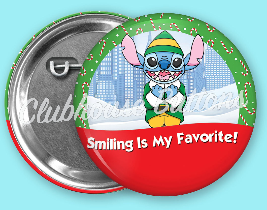 Stitch Buddy The Elf Christmas Button