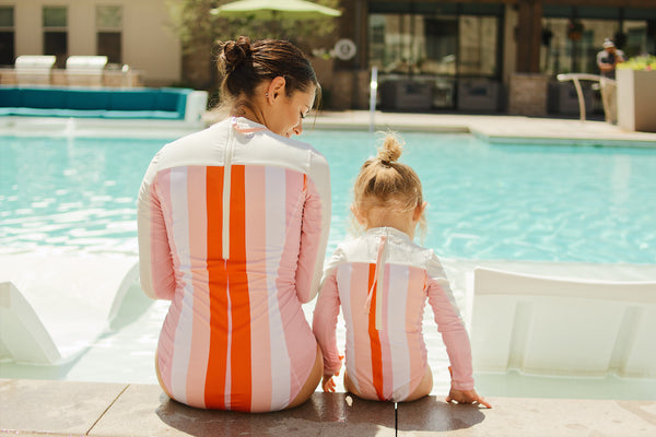 Take a Trip to the Pool with Ease in SwimZip Women's Surf Suit with UPF 50+ Sun Protection - Stripes Print