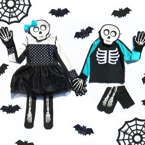 Easy Peasy DIY SwimZip Skeleton Halloween Costume!