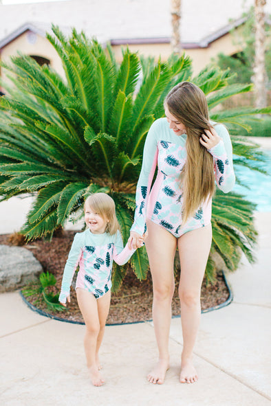Match with Your Little in SwimZip's UPF 50+ Sun Safe Surf Suit for Women -  Palm Print